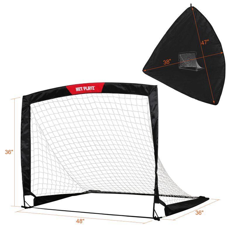 NET PLAYZ 4ftx3ft Easy Fold-Up Portable Training Soccer Goal Set of 2